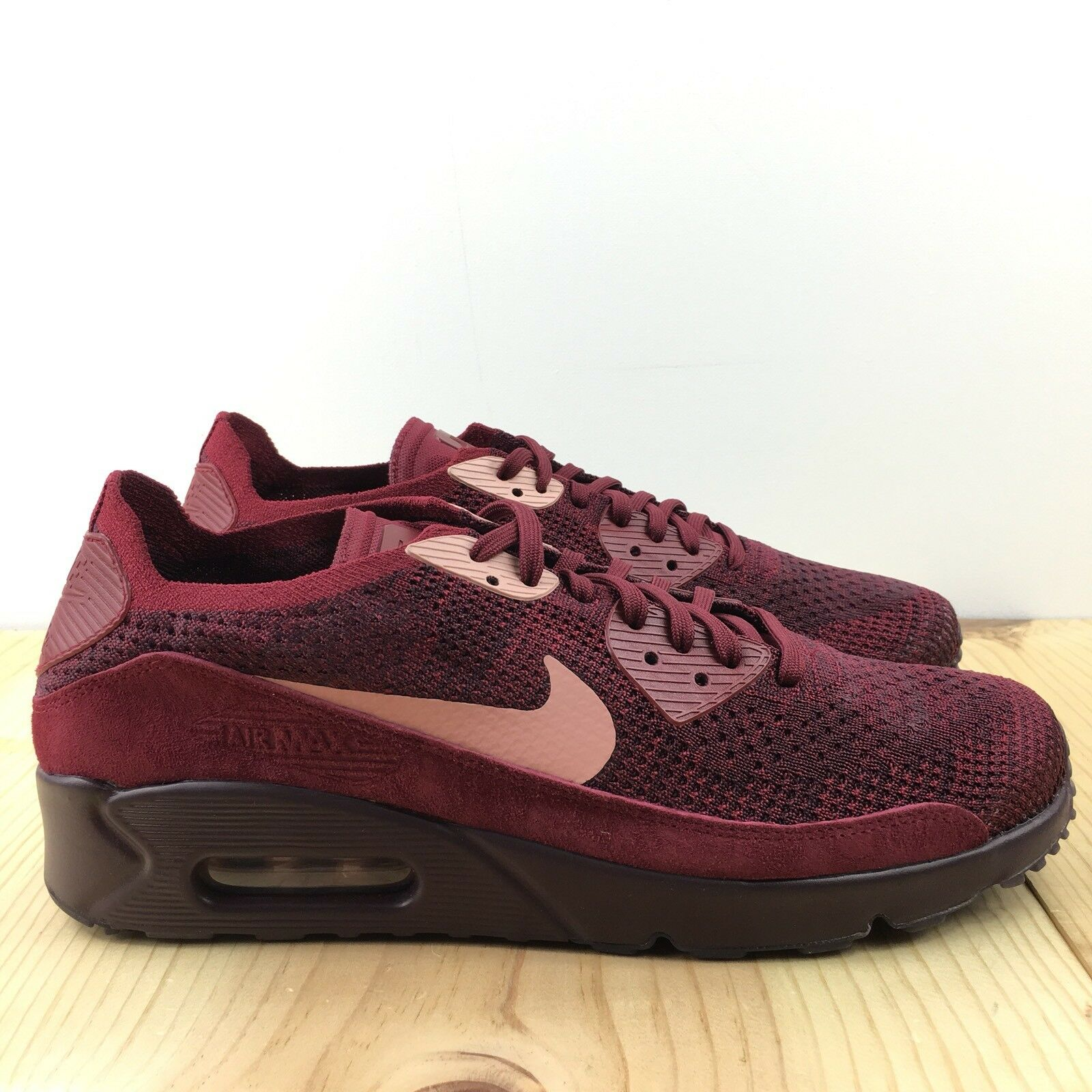 Nike Air Max 90 Ultra 2.0 Flyknit Size 9 Uomo Shoes Team Red Rust Pink