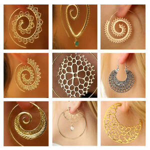 Women-Antique-Style-Gold-Plated-Delicate-Large-Circle-Ear-Hook-Stud-Earrings