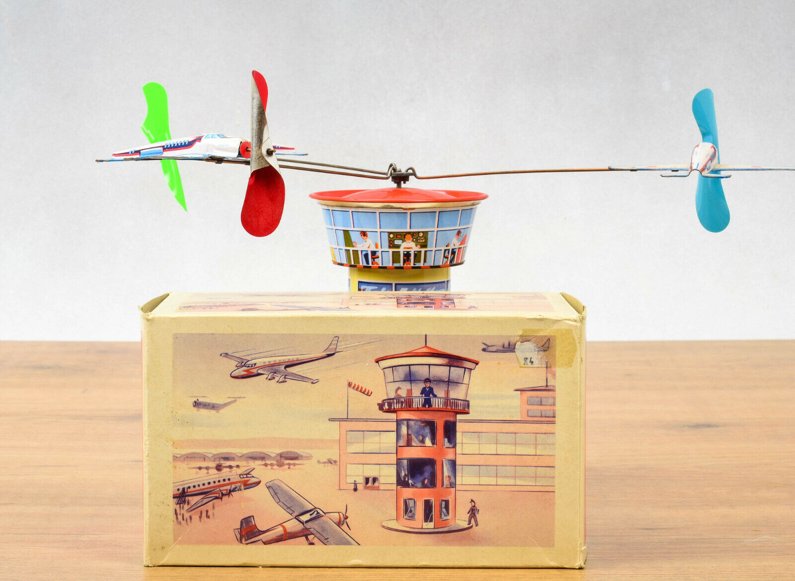 Antique Tin Juguete  Boxed Schopper Germany Airplane Airport Tower Clockwork