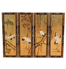 4 Hand Painted on Gold Leaf Pictures Cranes Oriental Furniture Chinese