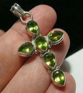 Sterling Silver Real PERIDOT Gem Stone 9.14cts Religious Cross Necklace PENDANT