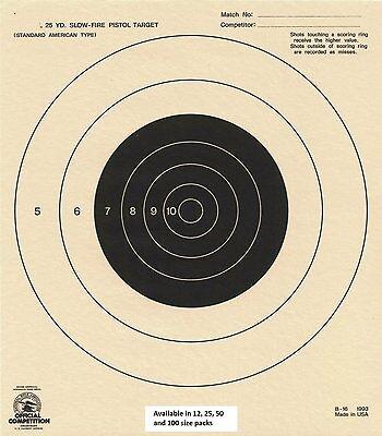 NRA Official 50 Foot Slow Fire Pistol Black Target B-2 B2 box 1,000 Tagboard