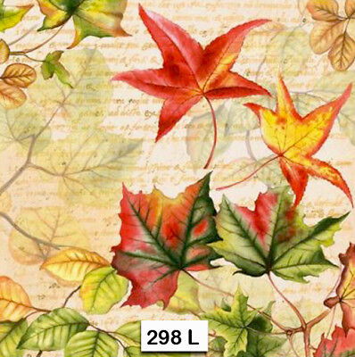 (298) TWO Individual Paper Luncheon Decoupage Napkins , AUTUMN, LEAVES,  FALL