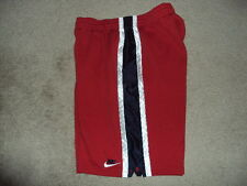 NIKE BASKETBALL SHORTS MEN'S SIZE XXL RED W/ WHITE AND BLUE STRIPES ON SIDE EUC