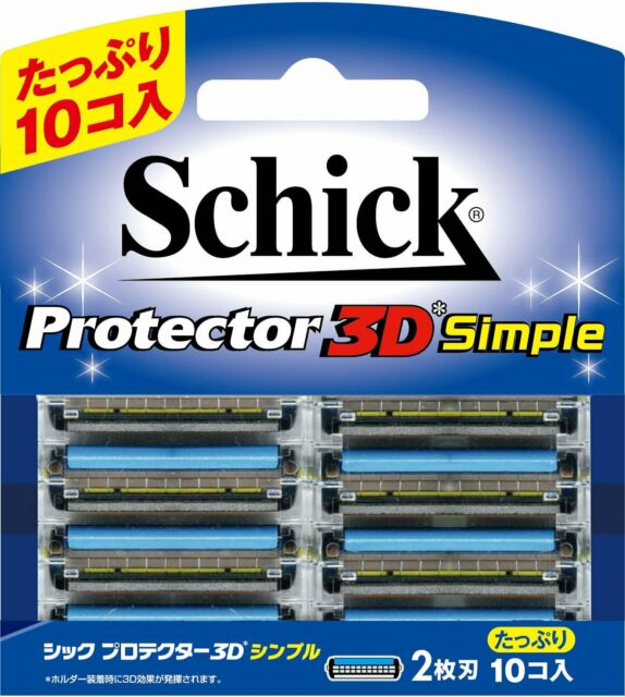 JAPAN SCHICK PROTECTOR 3D SIMPLE MEN'S RAZOR REFILL BLADES CARTRIDGE(10pcs)