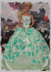Bal-de-princesse-Robe-de-bal-Bustier-bouton-bijoux-Mannequin-Barbie-vert-tendre