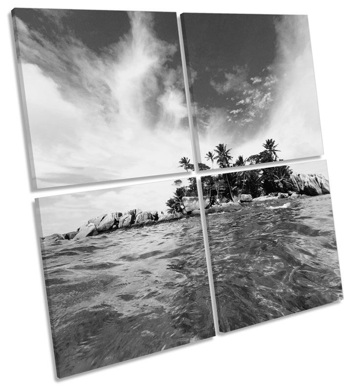 Desert Island Beach Seascape B&W CANVAS WALL ART Square Print Multi