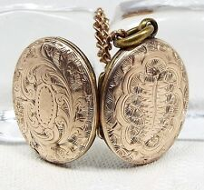Antique / Victorian 9ct Gold Ornate Engraved Oval Leaf Photo Locket Necklace
