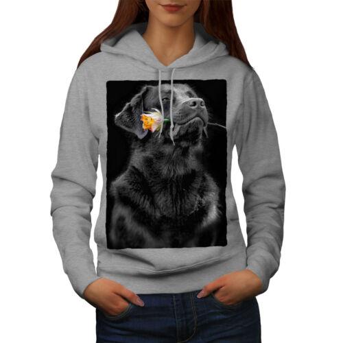 Wellcoda Labrador Hold Rose Womens Hoodie Romantic Casual Hooded Sweatshirt