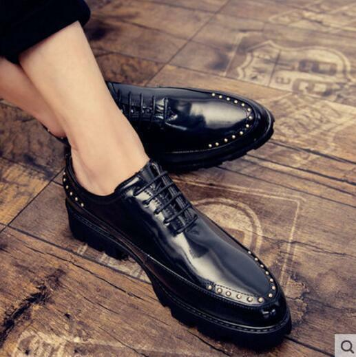 British Style Mens Pointy Toe Punk Studded Business Party Casual Lace up shoes