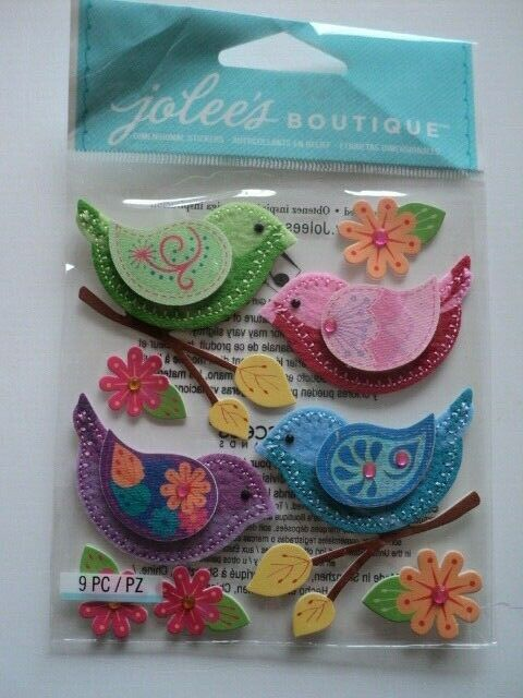 Jolee/'s Boutique Stitched Birds Dimensional Stickers