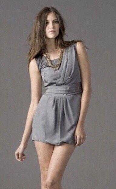 343 Geren Ford Silk Faux Wrap Pewter Dress L