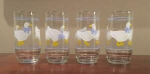 Vintage-Libbey-Goose-Geese-Blue-Ribbon-16-Oz-Drinking-Glass-Tumblers-Set-of-4