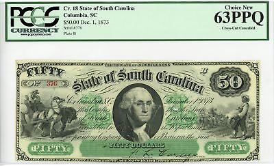 1873 Cr.18 $50 The State of SOUTH CAROLINA Note - PCGS Ch.CU 63 PPQ