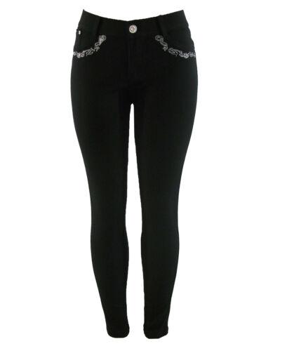NUOVO donna elastico NERO MODA RICAMI Jeans Skinny Jeggings Leggings 8-16