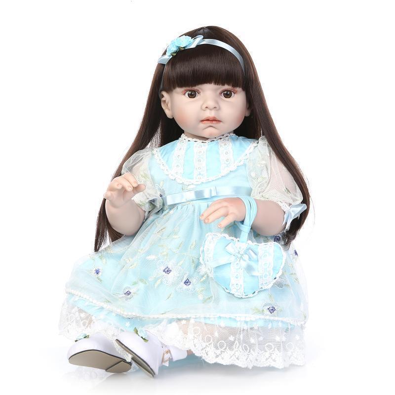 28'' 70cm Muñeca Bebé Reborn Infante Cabello Largo de vinilo suave silicona Girl Doll Regalos