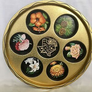 Details about Vintage 1950's TEXAS State Metal Drink Serving Tray, Gold &  Black, 11