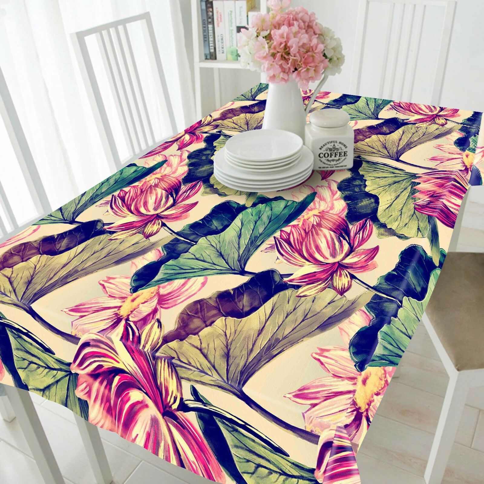 3D Paint Lotu Tablecloth Table Cover Cloth Birthday Party AJ WALLPAPER UK Lemon