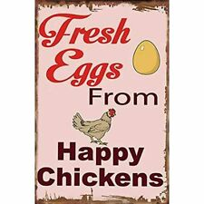 Original Vintage Design Fresh Eggs From Thick Tinplate Print Poster Chicken Sign