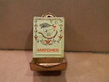 Tin Tole Match Holder Wall Mount Rooster & Fish Vintage