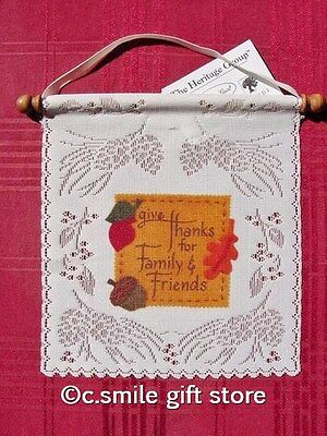 """Heritage Lace *Give Thanks - Family & Friends* Wall Hanging 8"""" x 7.5"""" Off White"""