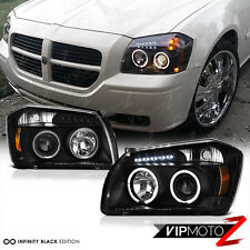 2005-2007 Dodge MAGNUM Halo Angel Eye LED Projector Black Headlight Signal Lamps