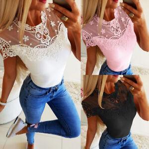 Women-Short-Sleeve-Lace-Casual-T-Shirts-Fashion-Ladies-Summer-Blouse-Tops-Shirt