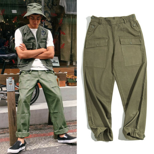 Work Vintage Loose Replica P44 US Military Monkey Pants Men Big Pocket Trousers