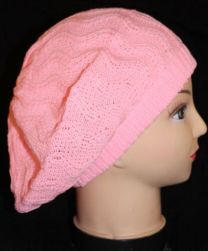 Pink Winter Knitted Beret Hat Crochet Slouch Baggy Beanie Cap Zigzag UK Post