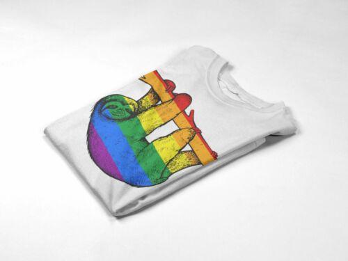 donna Rainbow Lazy BRADIPO T SHIRT-stanco spirito animale GAY idea regalo per uomo