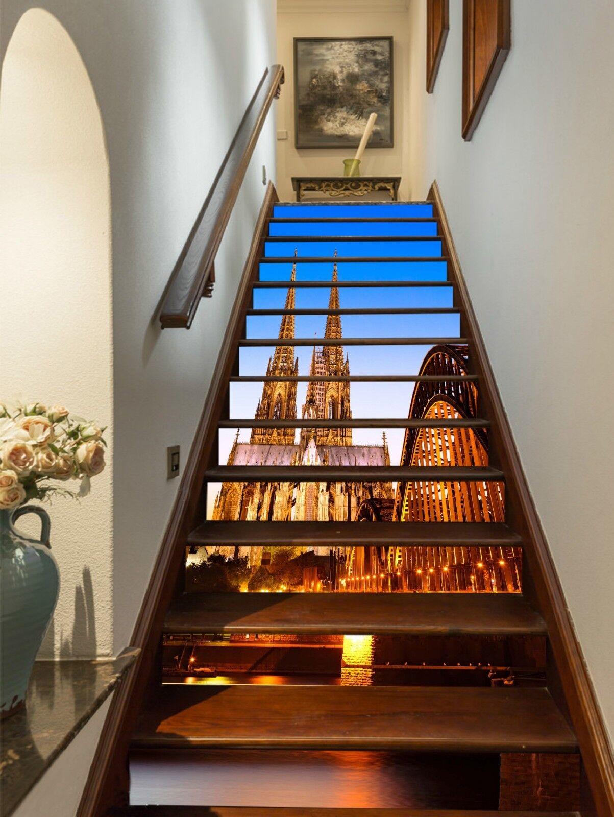 3D Heller Palast 20 Stair Risers Dekoration Fototapete Vinyl Aufkleber Tapete DE