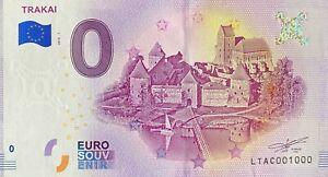 BILLET-0-EURO-TRAKAI-LITUANIE-2018-NUMERO-1000