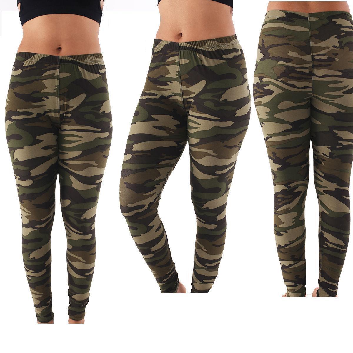 d40652a2c25da Women's PLUS SIZE Army Camo Camouflage Leggings Pants Spandex ONE ...