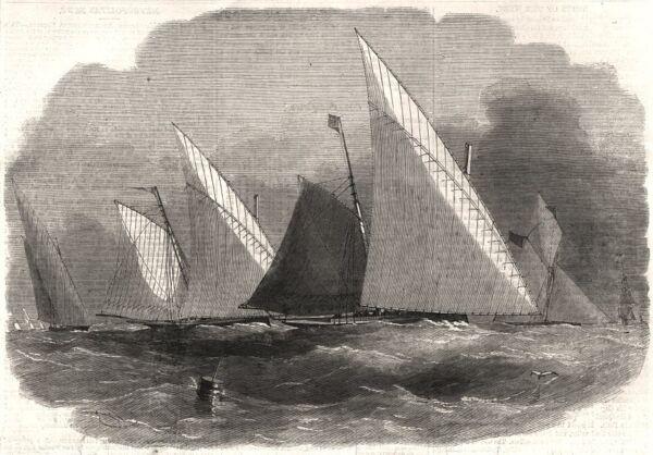 Agressif Le Lowestoft Regatta-match Avec Lowestoft Lateeners. Suffolk, Old Print 1856