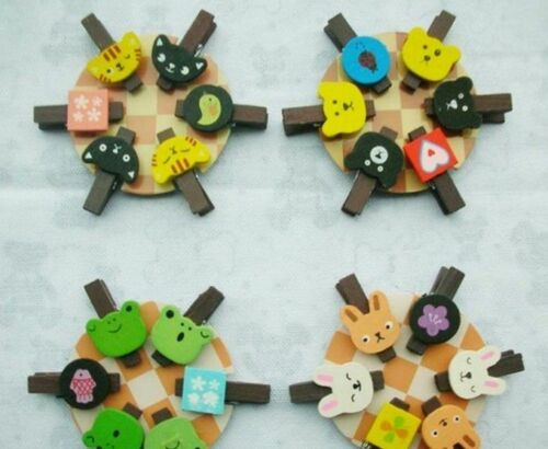 6pc Photo Picture Paper Card Cute mini Little /'Animal/' Pattern Wooden clips