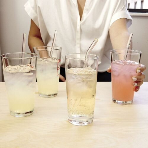 Kikkerland Clear Reusable Glass Drinking Straws Set Of 6 With Cleaning Brush