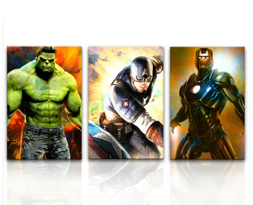 Captain America 3x Bilder Hulk Iron Man Marvel Bild Leinwand Wandbild 1464A