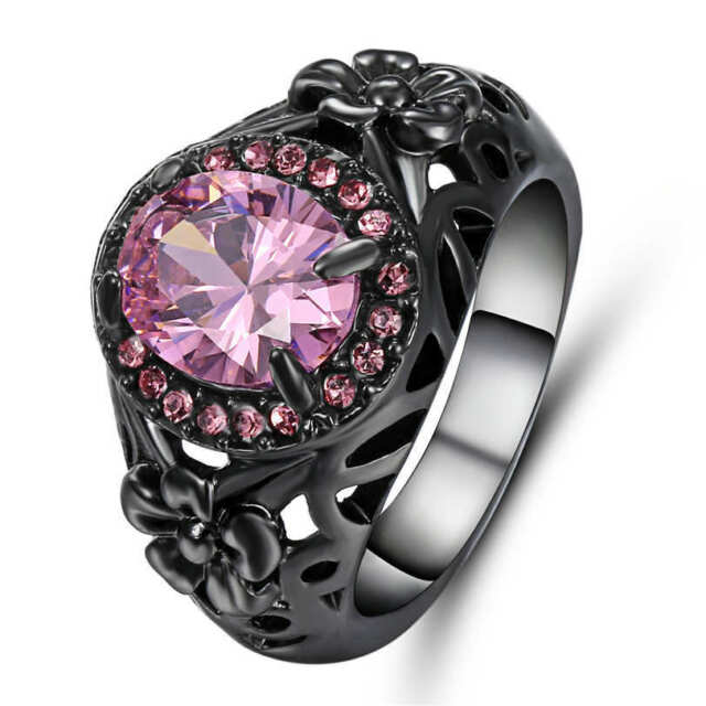 Noble Jewelry Pink Sapphire 18k Black Gold Filled Women\'s Wedding ...