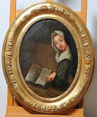Antique 18th Century Baroque Oil Painting on Canvas : Portrait of Cloistress