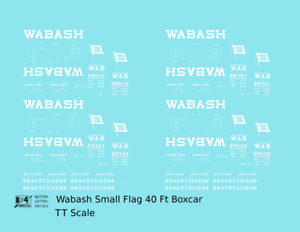 K4-TT-Decals-Wabash-Railroad-40-Ft-Boxcar-White-Small-Flag
