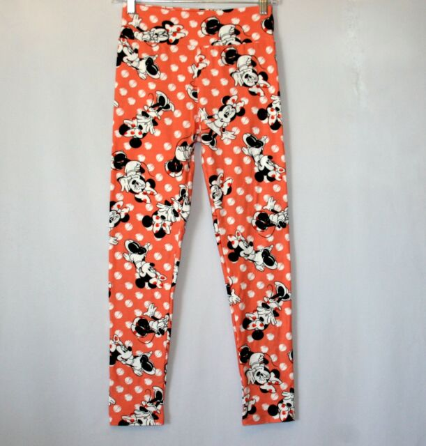 be64ebef4c20b3 EUC lularoe disney peach hidden minnie mouse leggings OS(2-10) | eBay