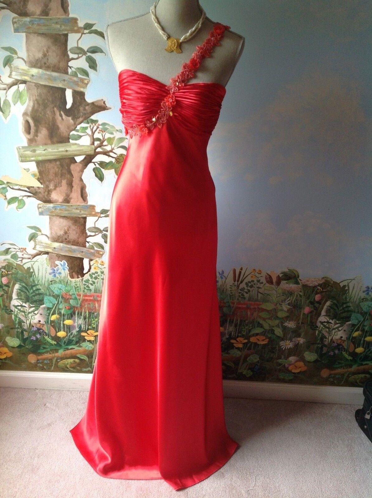 Morgan & Co. Woherren Satin Coral one Shoulder Prom Embellished Dress Größe 7 8