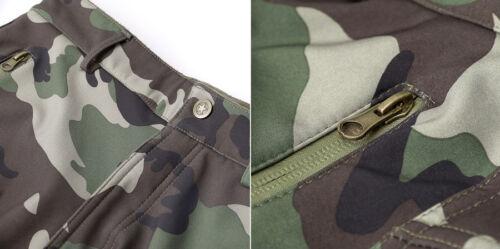 Uomo Squalo pelle Militare Pesante Pile Soft Shell Impermeabile Camo Pantaloni
