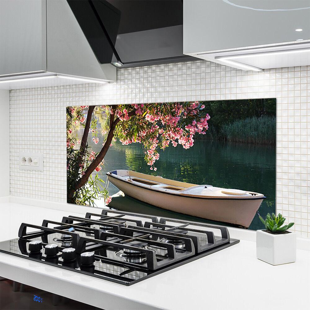 Crédence de cuisine en en en verre Panneau 120x60 Paysage Bateau Arbre 0340e1