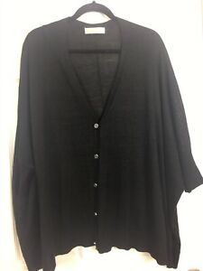 Michael-Kors-Sz-3X-Black-Oversized-3-4-Sleeve-Button-Up-Cardigan-Sweater
