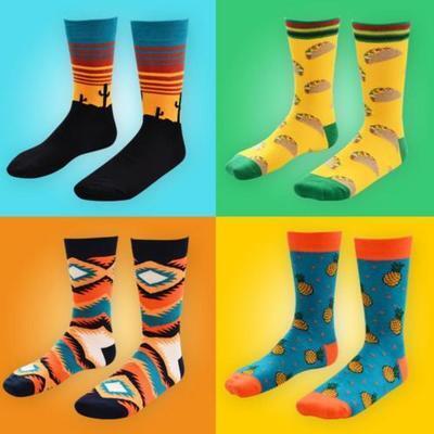 New Fashion Cotton Happy Socks Warm Gradient Colorful Casual Dress Socks Soft