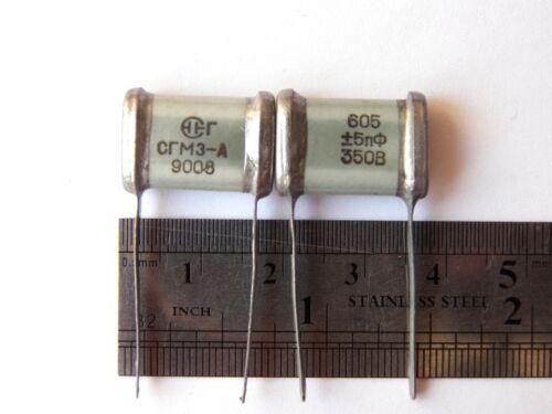 605pF 350V 0.8/% ex-USSR Silver Mica SGM Capacitor Hi-End 16pcs