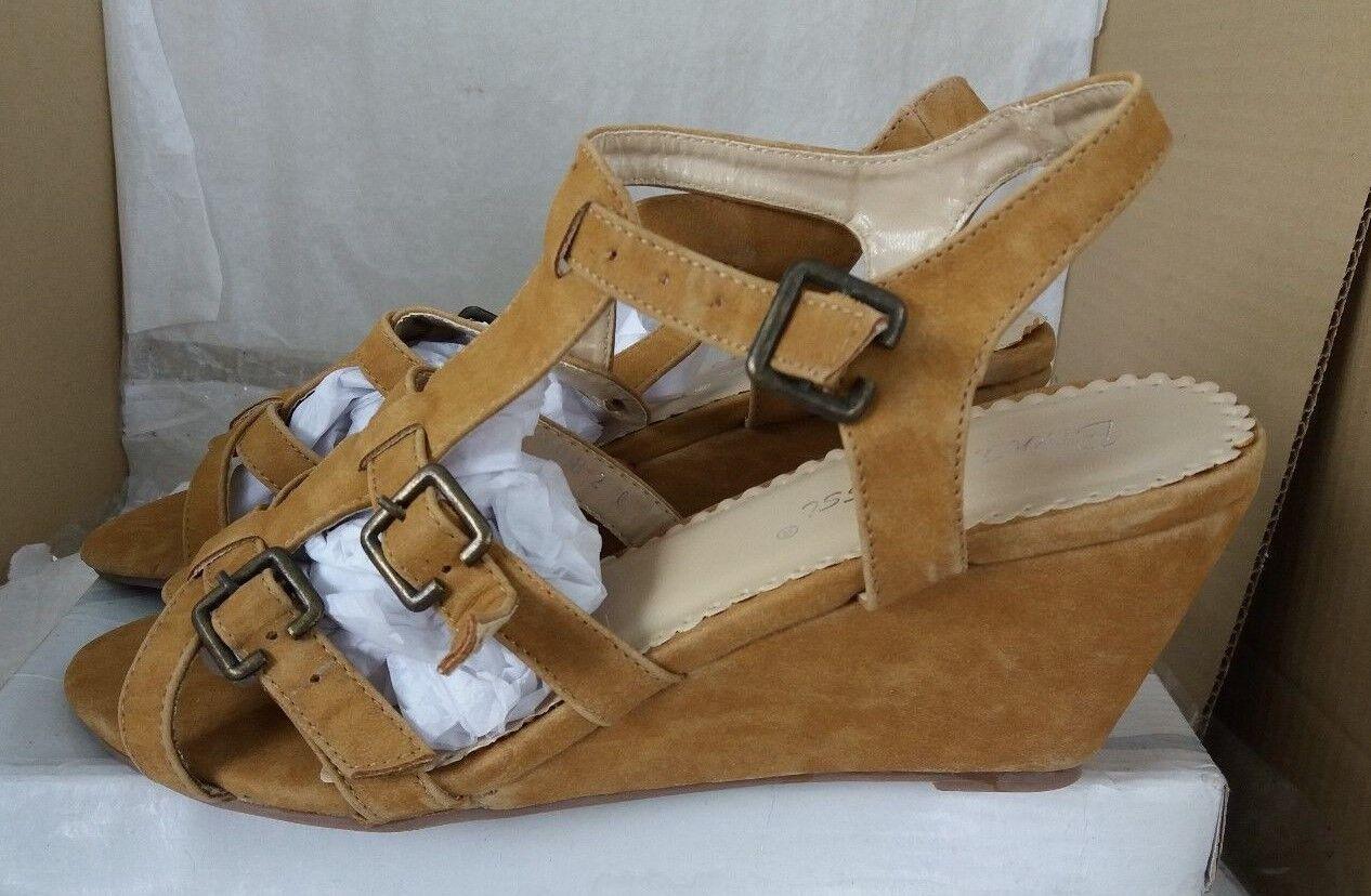 Bruna Rossi Sandals Camel Platform Buckle Gladiator Sandals Rossi Size UK / f42a5d