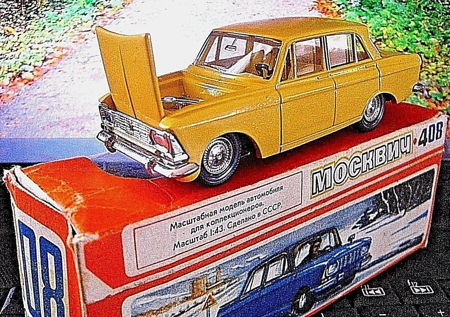 MOSKVITCH ULTRA RARE YELLOW NOVOEXPORT CCCP 408 DIECAST USSR SOVIET RUSSIA 1 43