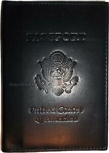 New-USA-Leather-Passport-cover-Credit-ATM-Card-holder-passport-card-case-bnwt